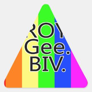Arco iris RoyGeeBiv - LGBT Pegatina Triangular