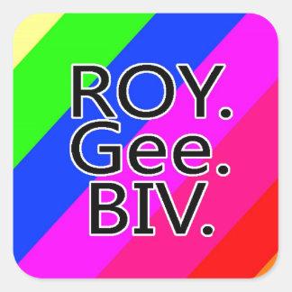 Arco iris RoyGeeBiv - verde amarillo rojo Bl de Pegatina Cuadrada