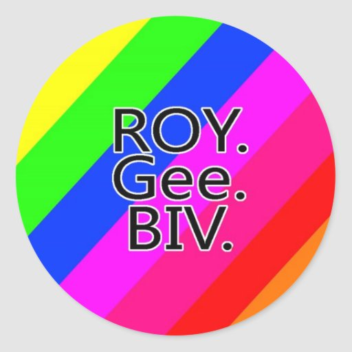 Arco iris RoyGeeBiv - verde amarillo rojo Bl de Pegatina Redonda