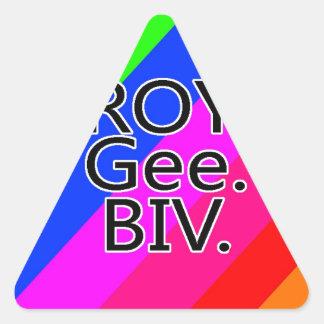 Arco iris RoyGeeBiv - verde amarillo rojo Bl de Pegatina Triangular