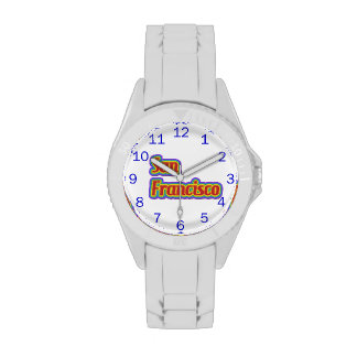Arco iris San Francisco - en blanco Relojes De Mano