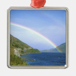 Arco iris sobre el lago Hawea, isla del sur, nueva Adorno Cuadrado Plateado