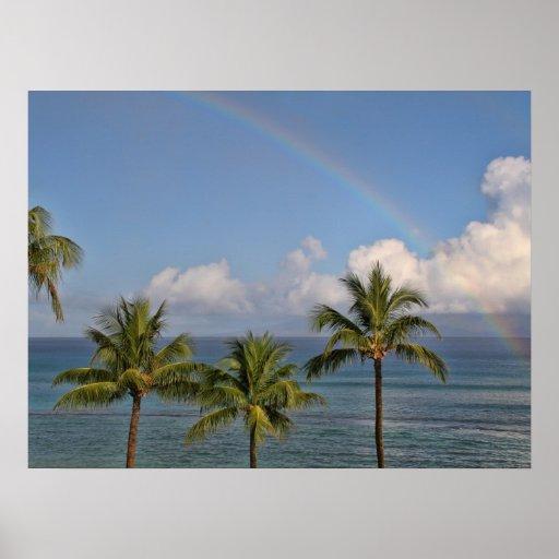 Arco iris sobre el océano con las palmeras posters