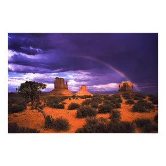 Arco iris sobre la impresión de la foto del valle cojinete