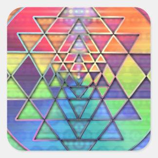 Arco iris Sri Yantra para el amor y la riqueza Pegatina Cuadrada