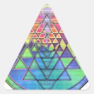 Arco iris Sri Yantra para el amor y la riqueza Pegatina Triangular