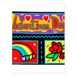arco iris subió collage del día de San Valentín Tarjetas Postales