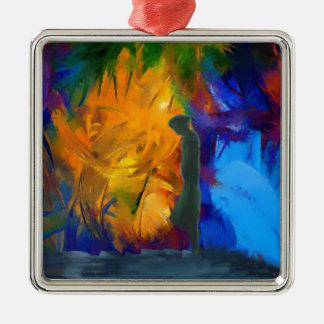 arco iris surrealista del retrato abstracto adorno cuadrado plateado