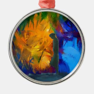 arco iris surrealista del retrato abstracto adorno redondo plateado