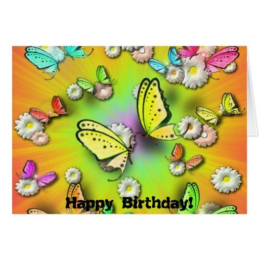 ¡Arco iris Swallowtails y cumpleaños de Daisys! Tarjeta De Felicitación