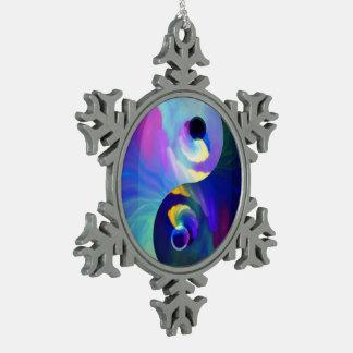 Arco iris Taijitu Yin Yang Adorno De Peltre En Forma De Copo De Nieve