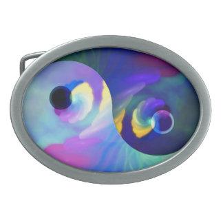 Arco iris Taijitu Yin Yang Hebilla Cinturón Oval