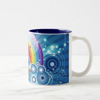 Arco iris taza de café de dos colores