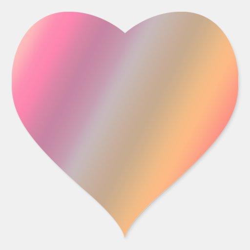 Arco iris transparente pegatina en forma de corazón