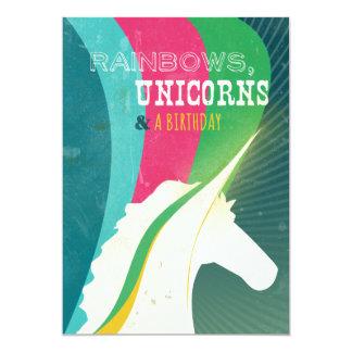"""¡Arco iris, unicornio y un cumpleaños! Invitación 5"""" X 7"""""""