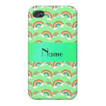 Arco iris verdes en colores pastel conocidos perso iPhone 4 cárcasa