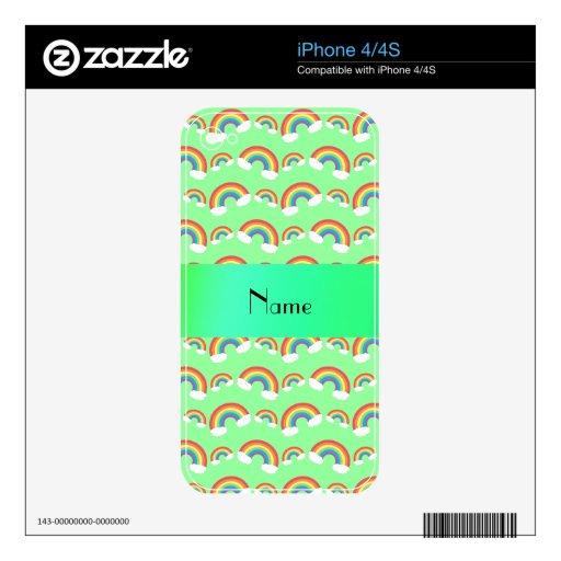 Arco iris verdes en colores pastel conocidos perso skins para eliPhone 4