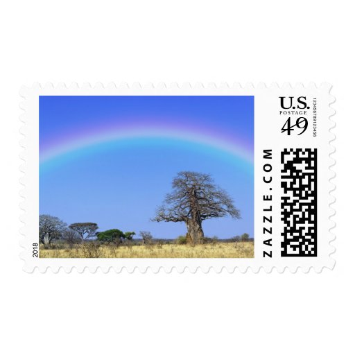 Arco iris y árbol africano del baobab, Adansonia Timbre Postal