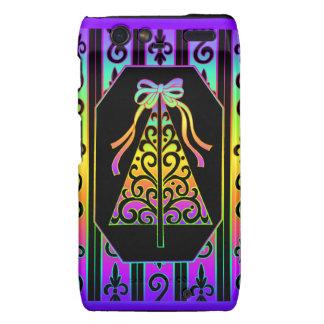 Arco iris y árbol de navidad de las rayas de los motorola droid RAZR carcasa