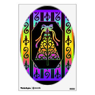 Arco iris y árbol de navidad de las rayas de los vinilo adhesivo
