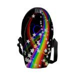 Arco iris y bolsa de mensajero de las estrellas la bolsa de mensajeria