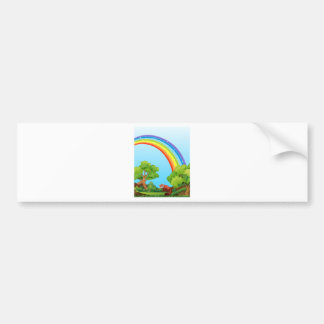 Arco iris y campo pegatina para auto