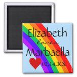 Arco iris y corazón de LGBT Imán Cuadrado