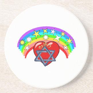Arco iris y estrellas judías posavaso para bebida