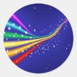 Arco iris y estrellas pegatinas redondas