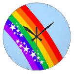 Arco iris y estrellas relojes de pared