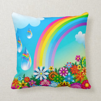 Arco iris y flores cojines