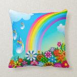 Arco iris y flores cojin
