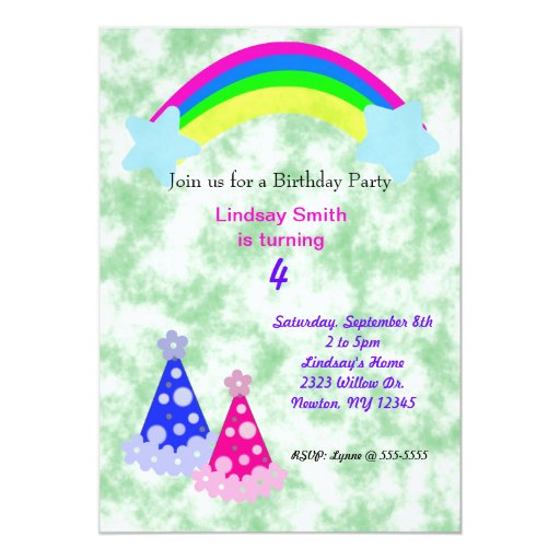 """Arco iris y gorras del fiesta invitación 5"""" x 7"""""""