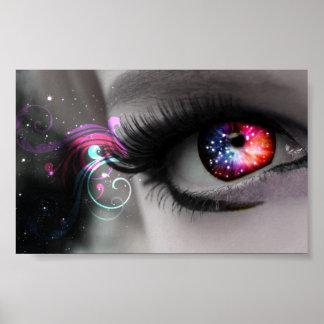 Arco iris y poster de la imagen del ojo de las chi