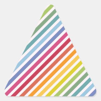 Arco iris y rayas blancas pegatina triangular