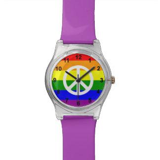 Arco iris y signo de la paz impresionantes relojes de mano