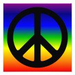 Arco iris y símbolo de paz negro fotografías