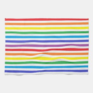 Arco iris y toalla de cocina de las rayas del
