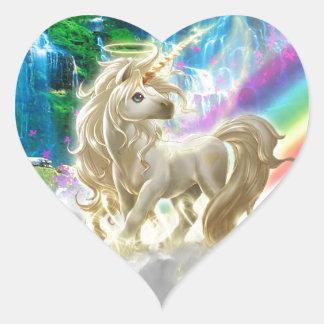 Arco iris y unicornio pegatina en forma de corazón