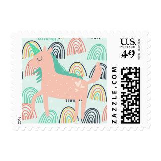 Arco iris y unicornios sellos postales