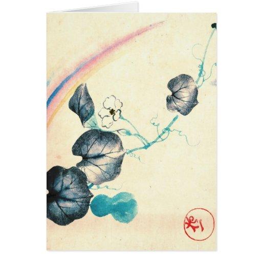 Arco iris y vid 1800 tarjeta de felicitación