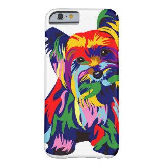 Arco iris Yorkie de la diversión Funda De iPhone 6 Barely There