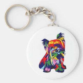 Arco iris Yorkie de la diversión Llavero Redondo Tipo Pin