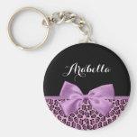 Arco lindo de la impresión púrpura femenina de llavero