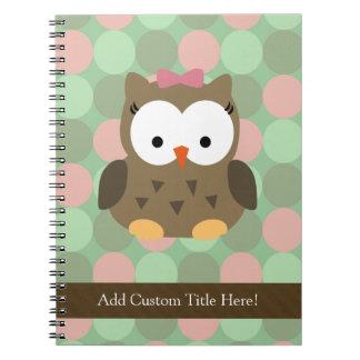 Arco lindo del búho w/Pink de Brown Spiral Notebooks