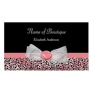 Arco lindo del guepardo del boutique rosado y tarjetas de visita