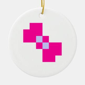 Arco lindo del pixel de 8 pedazos adorno navideño redondo de cerámica