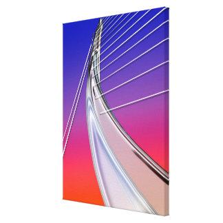 Arco metálico atado con alambre extracto impresión en lienzo estirada