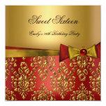 Arco negro rojo del damasco del oro 16 del dulce invitación personalizada