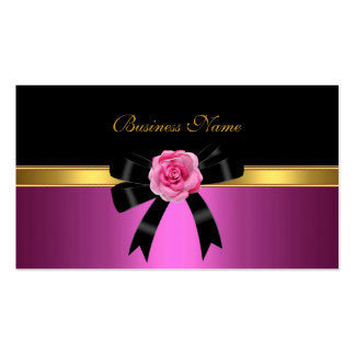 Arco negro subió rosa elegante del oro de la tarjetas de visita